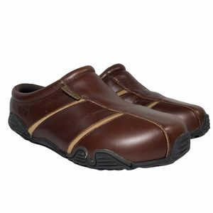 BITE Ramble On Comfort Clogs Mules Brown Leather
